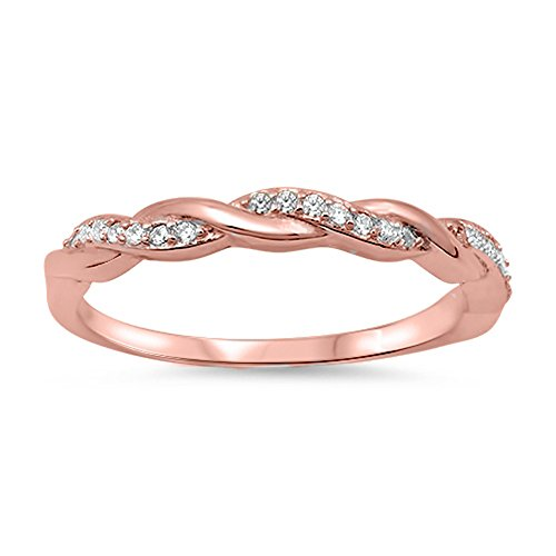 Rose Gold-Tone Clear CZ Infinity Knot Ring .925 Sterling Silver Band Size 11