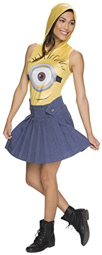 Work For Fun Halloween Costumes (Rubie's Costume Co Women's Minion Face Hooded Costume Dress, Yellow,)