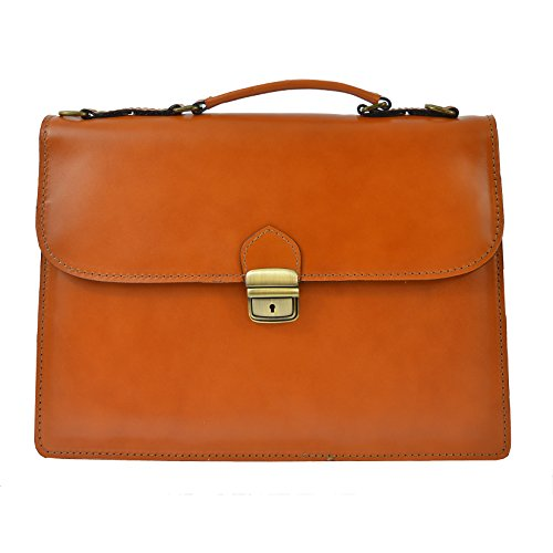 Leather Cm In Genuine Bag Ctm 38x27x7 Italy Made Business Briefcase Unisex's D7004 PnFxHYq