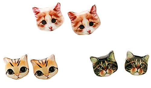 CUTIEJEWELRY Pretty Cute Kitty Cat Earrings For Women and Girls - 3 Pairs (Combo #2) ()
