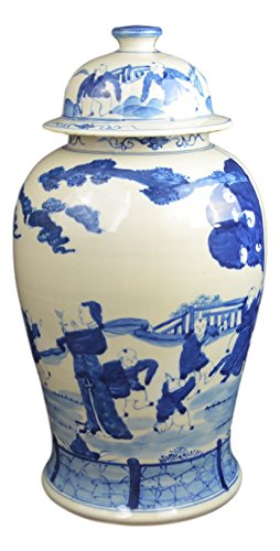 19'' Antique Finish Blue and White Porcelain Children Play Temple Ceramic Jar Vase, China Ming Style, Jingdezhen (L2) by Festcool (Image #1)