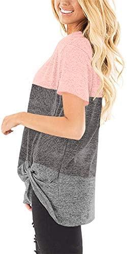 Yidarton Women's T Shirts V Neck Comfy Casual Twist Knot Tunics Tops Blouses