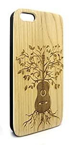 Genuine Maple Wood Organic Guitar Tree and Roots Snap-On Cover Hard Case for iPhone 6