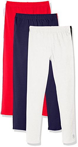 Kid Nation Girls' 3 Pack Solid Cotton Stretch Legging L Navy+Red+White - Cotton Stretch Knit Pants