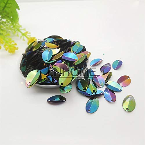 (Jienie 1000pcs 813mm Cup Oval Folded Sequins Horse Eyes Shape for Crafts Loose Paillettes Sewing,Wedding,Kids DIY Garment Black AB)