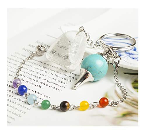 - AMOYSTONE Green Turquoise Ball Crystal Pendulum Semi-Precious Stone Dowsing Chakra Pendant with Clear Quartz Key Chain