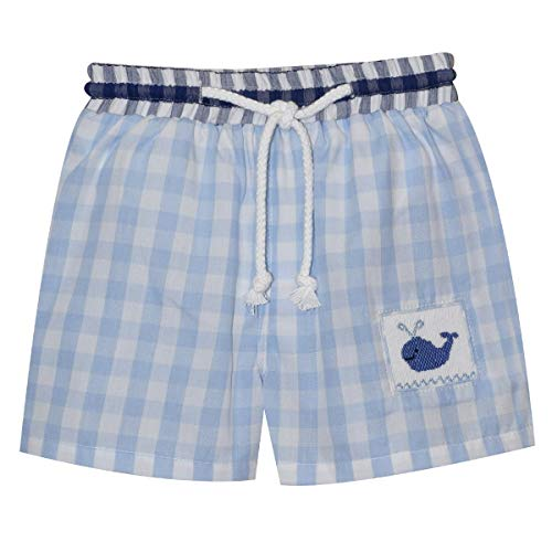 - Silly Goose Whale Smocked Light Blue Check Swimtrunks
