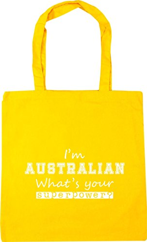 HippoWarehouse I'm Australian What's Your Superpower? Tote Shopping Gym Beach Bag 42cm x38cm, 10 litres Yellow