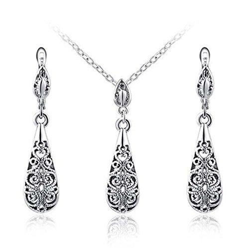 Beydodo Women White Gold Plated Jewellery Set Hollow Antique Style Tear Drop Pendant and Earring (Red Jade 14kt Bracelet)