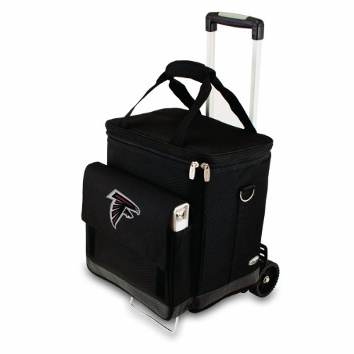 (NFL Atlanta Falcons Insulated Cellar Six Bottle Wine Tote with Trolley)