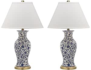 Safavieh Lighting Collection Beijing Floral Urn Blue and White 29-inch Table Lamp (Set of 2)