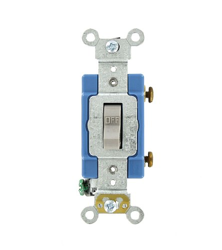 Leviton 1201-2GY 15 Amp, 120/277 Volt, Toggle Single-Pole AC Quiet Switch, Extra Heavy Duty Grade, Self Grounding, Gray