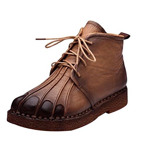 Vogstyle Damen Flach Plattform Pumps Schuhe Plateau Schnür Rund Toe Loafer Bootsschuhe Stile-1 Braun