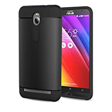 "ZenFone 2 5.5 Case - MoKo [Scratch Resistant] Armor Series Dual Layer Protection - Scratch Technology Corners for ASUS ZenFone 2 ZE550ML / ZE551ML 2015 5.5"", BLACK (Not Fit Zenfone 2 Laser)"