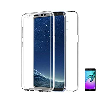 CARCASA 360 Compatible con [ Samsung Galaxy A8 / 2018 ] FUNDA DE SILICONA DELANTERA + TRASERA RIGIDA DOBLE 100% TRANSPARENTE doble cara proteccion ...