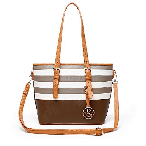Brown Striped Handbag (HNA Classic Multi Color Striped Top Handle Tote Bag)