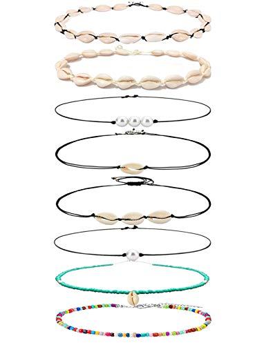 Meangel 8 Pieces Natural Shell Necklaces for Women Girls Cowrie Shell Choker Adjustable Boho Hawaii Sea Beach Choker Set ()