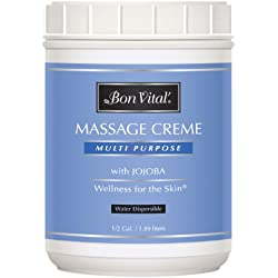Bon Vital' Multi-Purpose Massage Crème, Professional Massage Cream with Aloe Vera to Relax Sore Muscles, Increase Circulation & Repair Dry Skin, Full Body Massage Moisturizer Cream, 1/2 Gallon Jar