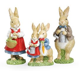 Easter Bunny Rabbit Figurines Adorable Bunny Family for Spring Decor - Set Of 3