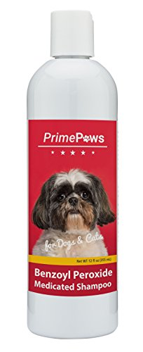 Prime Paws Benzoyl Peroxide Medicated Shampoo for Dogs and Cats - Effective for Seborhhea, Dandruff, Mange, Itch Relief, Acne and Folliculitis - Citrus Scent - 12 oz