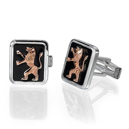 Silver Cufflinks Rose Gold Lion of Judah Black Onyx, Biblical Cufflinks, Judaica Gift, Men's Jewelry, Israeli Jewelry, Fathers Day Gift by Baltinester Jewish Jewelry