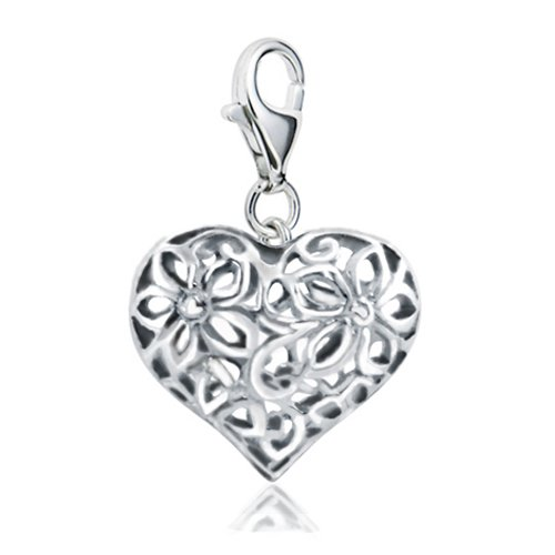 Sterling Silver 3D Cut Out Filigree Heart Love with Lobster Clasp Charm for Charm Bracelet