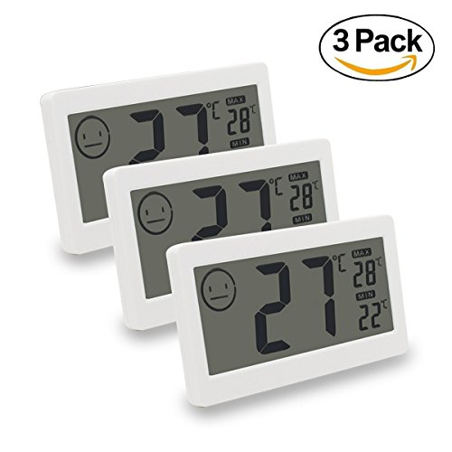 MIKIZ Digital Thermometer Hygrometer Temperature and Humidity Display with 3.3 inch LCD for Household Office Gym Kitchen etc (3 Pack) -