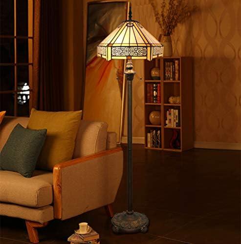 Tokira Tiffany Stehlampe Vintage Wohnzimmer Bernstein, Buntglas Einfacher Stil Sechs Seiten Glas Lampenschirm Tehlampe Bunt 64 Zoll