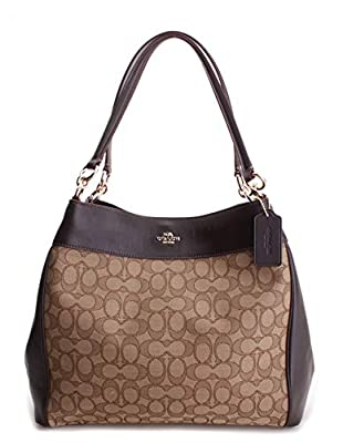 COACH Lexy Shoulder Bag in Outline Signature khaki/chalk F57612