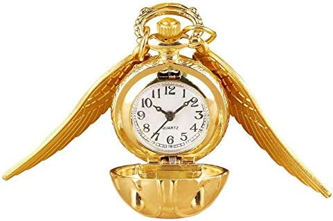YXZQ懐中時計、翼付きクォーツネックレスペンダントかわいいデザインキッズウォッチ子供用ギフト付き小型ゴールドカラーカブトムシ