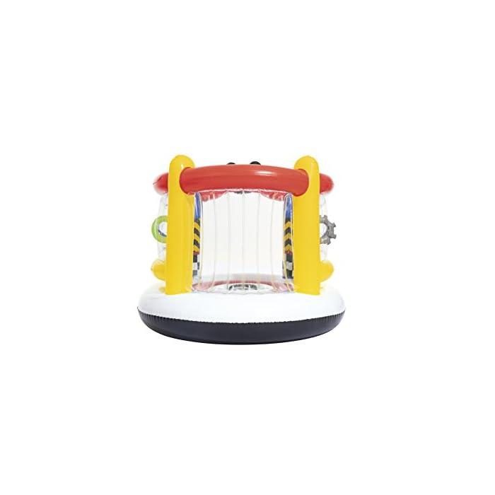 41KY5Xj1lFL Está fabricada con vinilo resistente probado con paredes hinchables para mayor seguridad de los niños Incluye aros hinchables para que los más pequeños jueguen a encestar Tiene válvulas de seguridad para un inflado y desinflado fácil