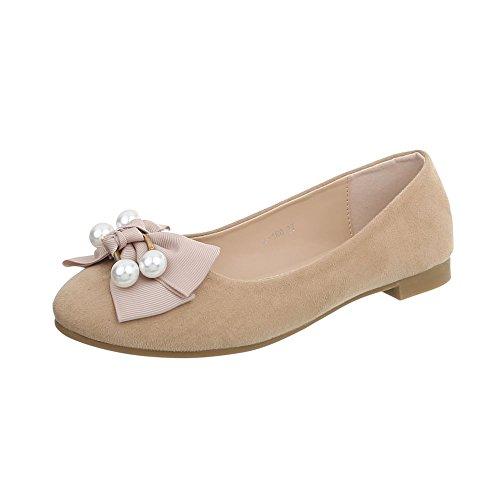 Ital Scarpe 160 Donna Design da A Blocco Classiche a Ballerine Ballerine Tacco beige qRrqS7Wwc5