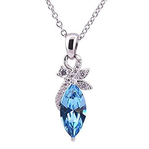 The Starry Night Acacia Leaves Blue Crystal Pendant Clavicle Chain Diamond Accented Silver Necklace - Crystal Platinum Cake Stand