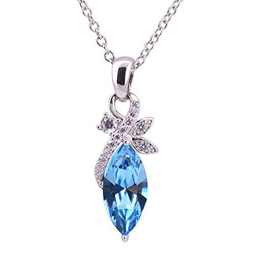 The Starry Night Acacia Leaves Blue Crystal Pendant Clavicle Chain Diamond Accented Silver Necklace