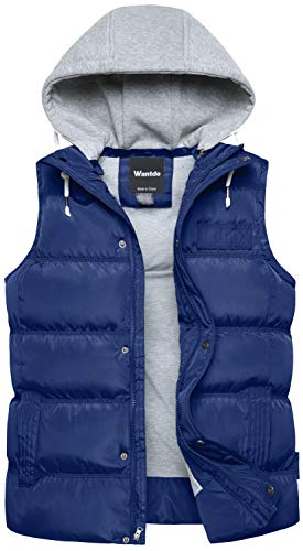 Wantdo Men's Winter Puffer Vest Removable Hooded Quilted Warm Sleeveless Jacket Gilet Sapphire Blue Small