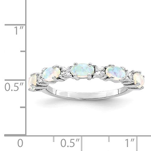 925 Sterling Silver Lab Created Opal Cubic Zirconia Cz Band Ring Stone Fine Jewelry For Women Gift Set