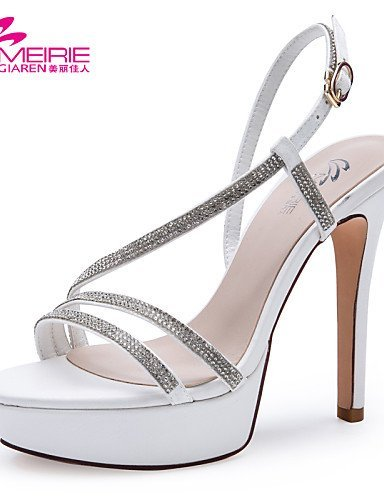 ShangYi MeiRie'S Women's Shoes Patent Leather Stiletto Heel Heels/Open Toe Sandals Office & Career/Casual Black/White Black HeK40