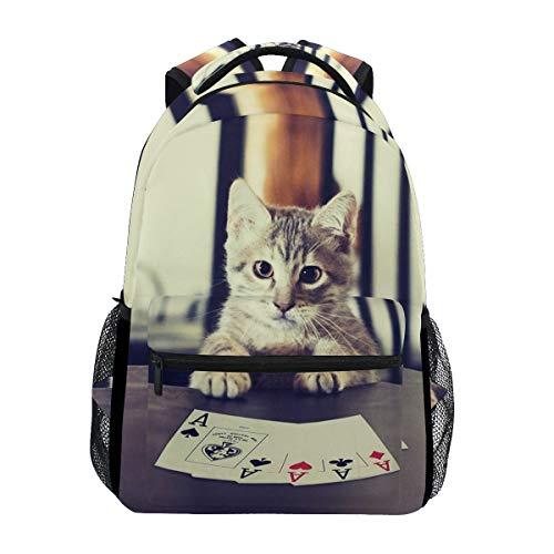 Poker Cat Kitten Backpack Bookbag for Boy Girl Large Travel Laptop Shoulder Bag for Women Men