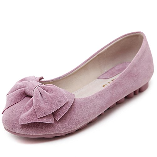 Womens Classic Casual Flats - Soft Slip On Shoes - Comfortable Footwear 678-1 Pink 6eYyXBoIc