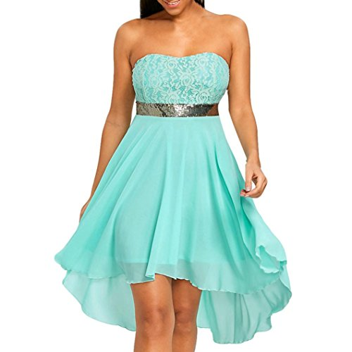 2019 New Women's Wedding Dress, E-Scenery Off Shoulder Empire Waist Chiffon Bandeau Irregular Party Dresses (Green, Small)]()