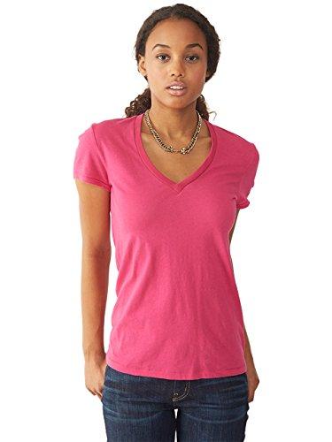 Alternative Womens Karen V-Neck T-Shirt Large Azalea