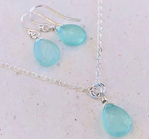 Oxidized Silver Aqua Chalcedony Necklace with Starfish Charm Necklace Beach Jewelry