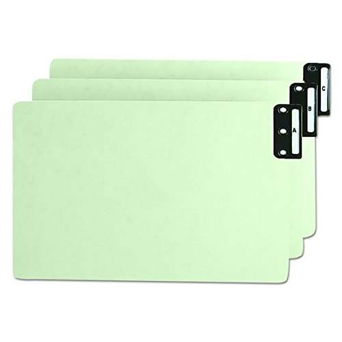 Smead 63276 Pressboard End Tab Guides, Vertical Metal Tabs, A-Z, Legal, Green, 25/Set