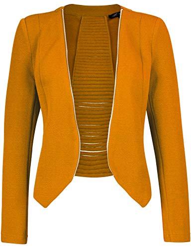 Michel Women's Open Front Lightweight Cardigan Blazer Jacket Mustard XX-Large