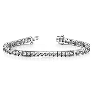 Platinum Diamond Round Brilliant Channel Tennis Bracelet (5.6ctw.) - Size 7.25