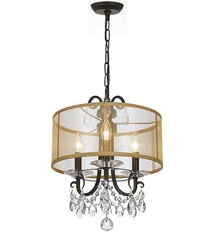 Amazon.com: Mini lámparas de araña 3 luz con acero y vidrio ...