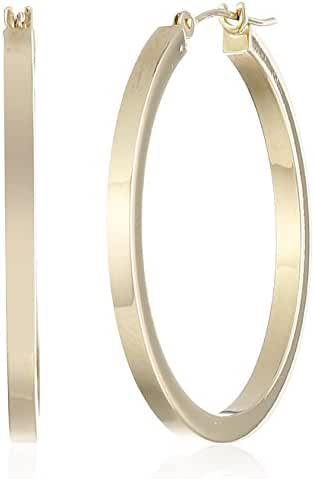 14k Yellow Gold Square Hoop Earrings, (1.2