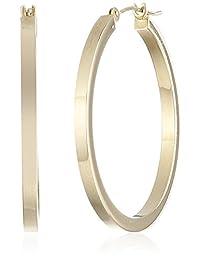 "14k Yellow Gold Square Hoop Earrings, (1.2"" Diameter)"