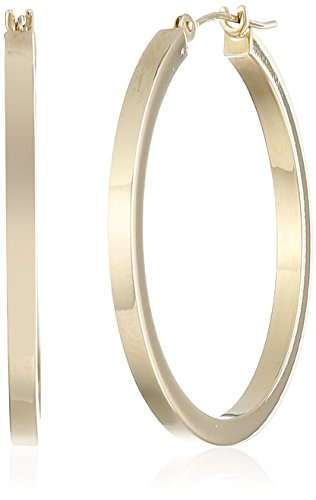 "14k Yellow Gold Square Hoop Earrings, (1.2"" Diameter)"