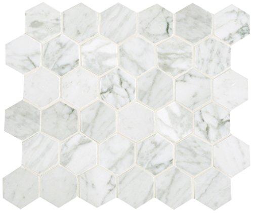 Dal-Tile M315412V1L- Baldosa de mármol, Carrara blanco mosaico pulido hexagonal